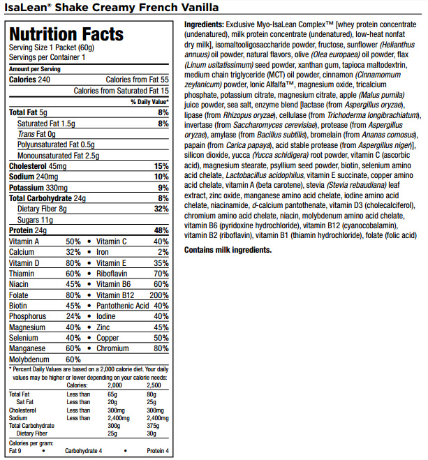 IsaLean Isagenix Nutrition Facts and Ingredients
