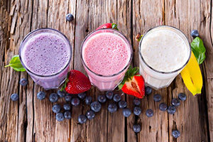 aerial shot of fruit smoothies
