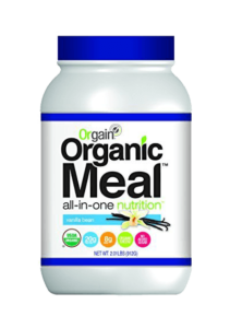 Orgain vegan protein powder shakes are all-organic meal replacements containing pea, brown rice and chia proteins.