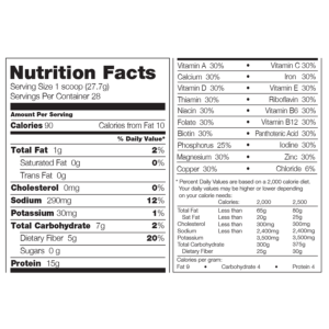 310 Shakes Nutrition Facts Calories
