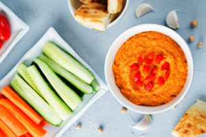 Red Bell pepper hummus with vegetables