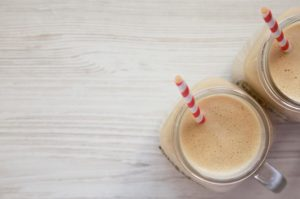salted caramel keto shake in mason jars