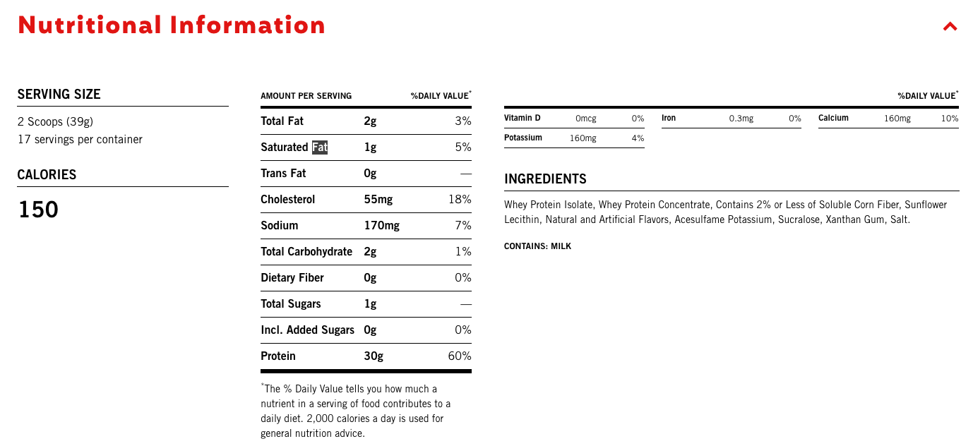 Premier Protein Shake Nutritional Information label